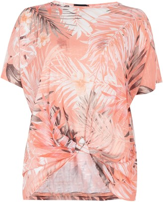 Wallis Coral Palm Print Asymmetric Top