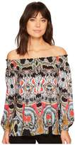 Nicole Miller Rocky Smocked Top Women's Clothing