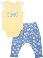 Cutie Pie Baby Yellow & Blue 'Cutie' Bodysuit & Floral Pants