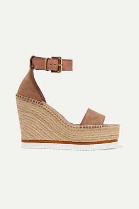 See by Chloe Suede And Leather Espadrille Wedge Sandals