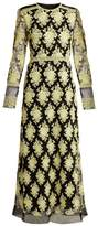 Burberry Floral-embroidered Mesh Dress - Womens - Yellow Multi