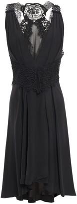 Victoria Beckham Guipure Lace-paneled Silk Crepe De Chine Dress