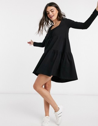 ASOS DESIGN mini tiered smock dress with square neck and tiered hem in black