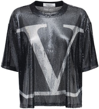 Valentino Go Logo Sequined Top