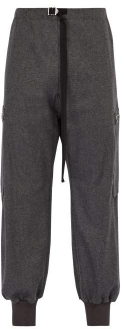 Stella McCartney Buckled Wool Felt Track Pants - Mens - Charcoal