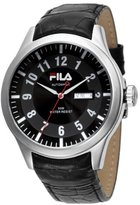Fila Men's Quartz Watch with Black Dial Analogue Display Quartz Leather FA0796 02
