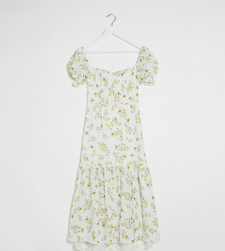Dark Pink puff sleeve button up broderie midi dress in white based ditsy floral print