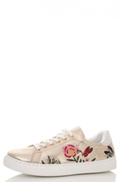 Quiz Gold Shimmer Flower Embroidered Trainers
