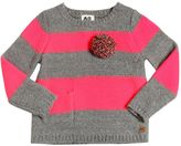 American Outfitters Striped Tricot Sweater With Pompom