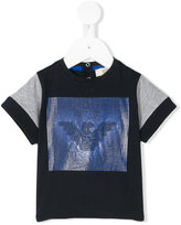Armani Junior striped logo print T-shirt - kids - Cotton - 12 mth