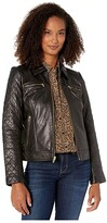 Cole Haan Diamond Quilt Leather Jacket (Black) Women's Coat