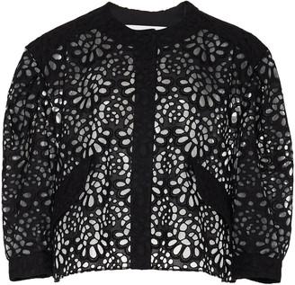 Carolina Herrera Cropped Broderie-Anglaise Cotton Jacket