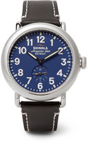 Shinola The Runwell 41mm Stainless Steel And Leather Watch - Black