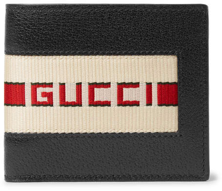 Gucci Webbing-Trimmed Full-Grain Leather Billfold Wallet