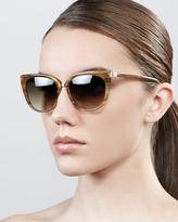 Barton Perreira Ronette Soft Cat-Eye Sunglasses, Horn