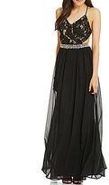 Jodi Kristopher X-Back Lace Bodice Embellished Long Dress