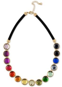 "Rachel Roy Gold-Tone Multicolor Crystal Faux Suede Collar Necklace, 16"" + 2"" extender"