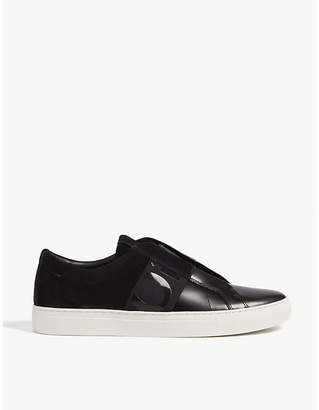 HUGO Leather and suede slip-on trainers