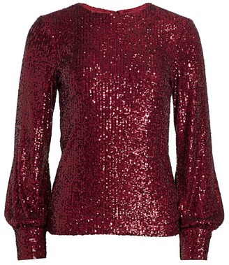 Teri Jon By Rickie Freeman Long-Sleeve Sequin Top