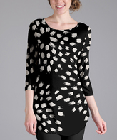 Lily Black & White Splatter Three-Quarter Sleeve Tunic - Plus Too