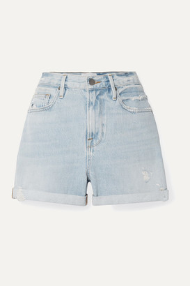 Frame Le Beau Distressed Denim Shorts - Blue