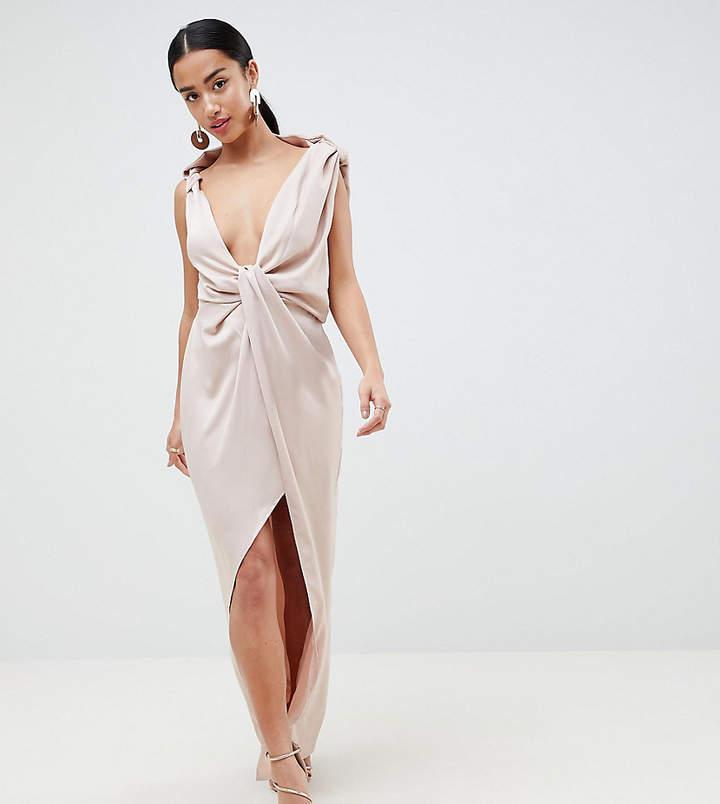 Asos Design Petite Drape Satin Maxi Dress