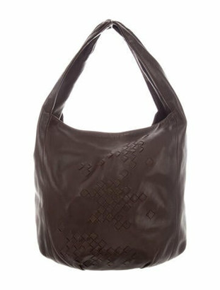 Bottega Veneta Intrecciato-Trimmed Leather Hobo silver