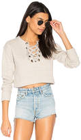 Mother The Tie Up Easy Crop Sweatshirt in Beige. - size L (also in M)