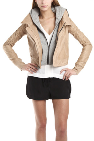 A.L.C. Tedd Leather Jacket in Oatmeal