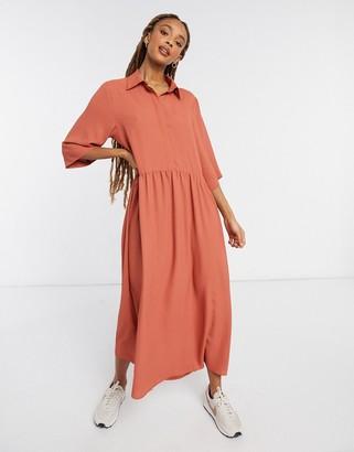 Monki Else midi shirt dress in rust