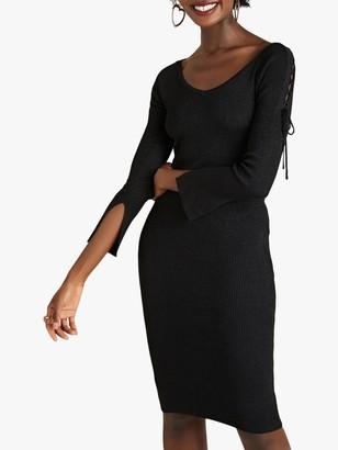 Yumi Tie Detail Party Dress, Black
