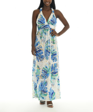 Shoreline Women's Casual Dresses BLUE - Blue & Gold Palm Leaf Maxi Dress - Women
