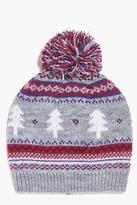 Boohoo Aimee Fairisle Pom Beanie Hat