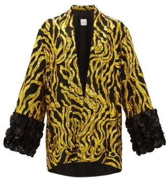 Halpern Vine-sequinned Applique-cuff Jacket - Gold Multi
