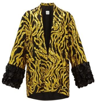 Halpern Vine-sequinned Applique-cuff Jacket - Womens - Gold Multi