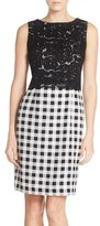 Ellen Tracy Petite Women's Lace & Gingham Sheath Dress
