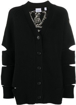 Burberry Crest Intarsia Knit Cardigan
