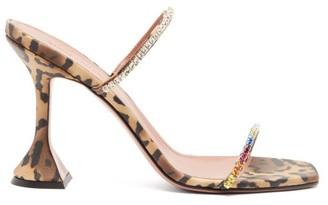 Amina Muaddi Gilda Leopard-print Satin Sandals - Leopard