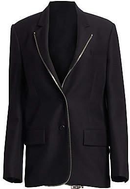Alexander Wang Women's Oversized Wool-Blend Zip Lapel Blazer