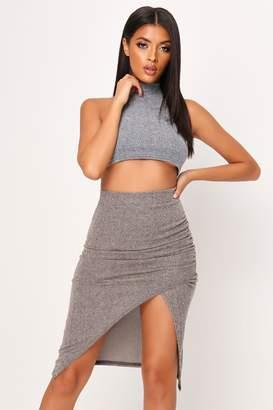 I SAW IT FIRST Grey Basic Brushed Rib Wrap Front Midi Skirt