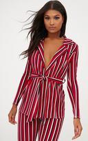 PrettyLittleThing Red Contrast Stripe Belted Blazer