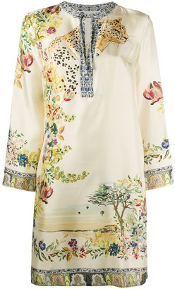 Etro Silk Long Sleeve Shift Dress