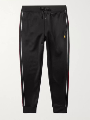 Polo Ralph Lauren Slim-Fit Tapered Piped Logo-Embroidered Tech-Jersey Sweatpants - Men - Black