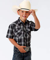 Roper Black & White Plaid Short-Sleeve Button-Up - Boys