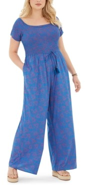 Band of Gypsies Trendy Plus Size Printed Ruched-Bodice Jumpsuit