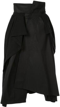 aganovich jersey-panelled asymmetric skirt