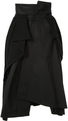 aganovich Jersey-Panelled Asymmetric Skirt