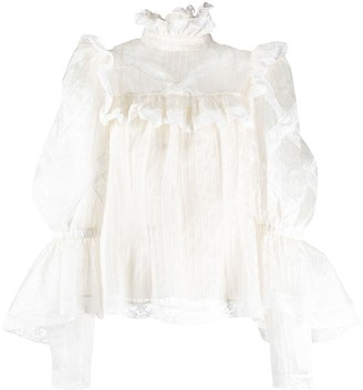 Marc Jacobs Striped Ruffle Blouse
