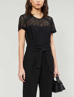 Claudie Pierlot Jeannee floral-lace and woven jumpsuit