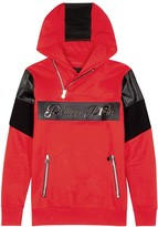 Philipp Plein Emergency Red Hooded Cotton Sweatshirt